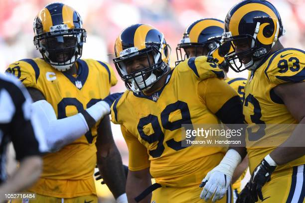 Aaron Donald of the Los Angeles Rams celebrates after a play against the San Francisco 49ers during their NFL game at Levi's Stadium on October 21...