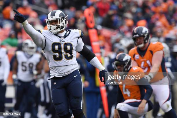 Aaron Donald of the Los Angeles Rams celebrates sacking Case Keenum of the Denver Broncos during the third quarter The Denver Broncos hosted the Los...