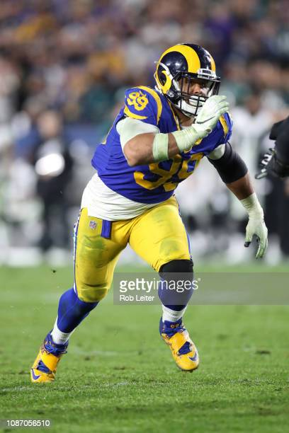 Aaron Donald of the Los Angeles Rams in action during the game against the Philadelphia Eagles at the Los Angeles Memorial Coliseum on December 16,...