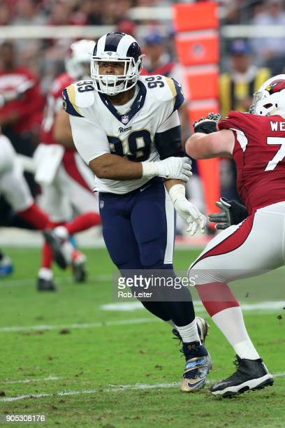 Aaron Donald of the Los Angeles Rams in action during the game against the Arizona Cardinals at University of Phoenix Stadium on December 3 2017 in...