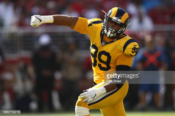 Aaron Donald of the Los Angeles Rams reacts after a sack of CJ Beathard of the San Francisco 49ers during their NFL game at Levi's Stadium on October...