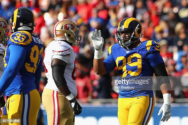 Aaron Donald of the Los Angeles Rams reacts during the game against the San Francisco 49ers at Los Angeles Memorial Coliseum on December 24 2016 in...