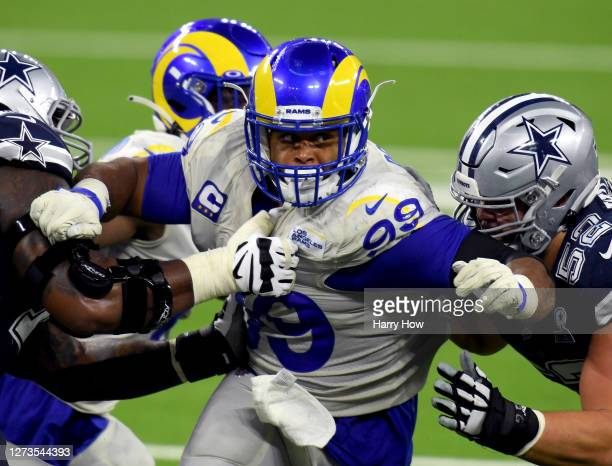 Aaron Donald of the Los Angeles Rams rushes during a 20-17 win over the Dallas Cowboys at SoFi Stadium on September 13, 2020 in Inglewood, California.