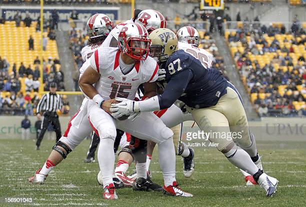 Aaron Donald of the Pittsburgh Panthers sacks Gary Nova of the Rutgers Scarlet Knights during the game on November 24 2012 at Heinz Field in...