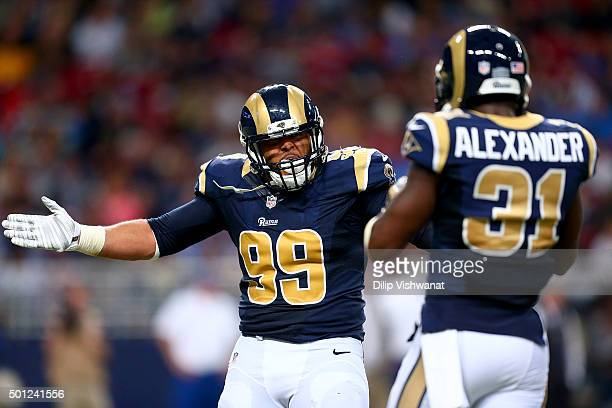 Aaron Donald of the St Louis Rams celebrates after making a sack in the fourth quarter against the Detroit Lions at the Edward Jones Dome on December...