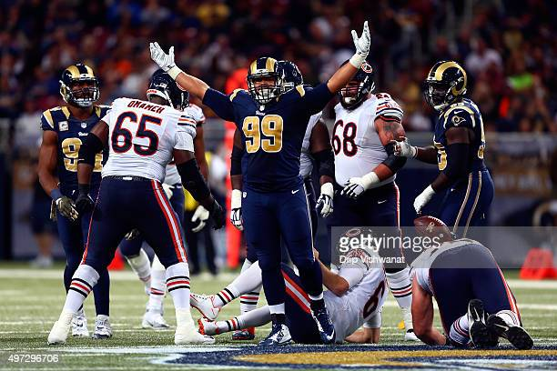 Aaron Donald of the St Louis Rams celebrates after making a sack against Jay Cutler of the Chicago Bears in the third quarter at the Edward Jones...