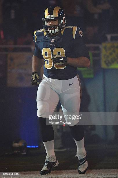 Aaron Donald of the St Louis Rams is introduced prior to a game against the Denver Broncos at the Edward Jones Dome on November 16 2014 in St Louis...