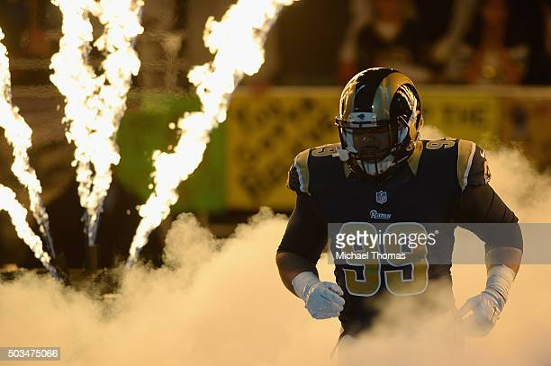 Aaron Donald of the St Louis Rams is introduced prior to a game against the Detroit Lions at the Edward Jones Dome on December 13 2015 in St Louis...