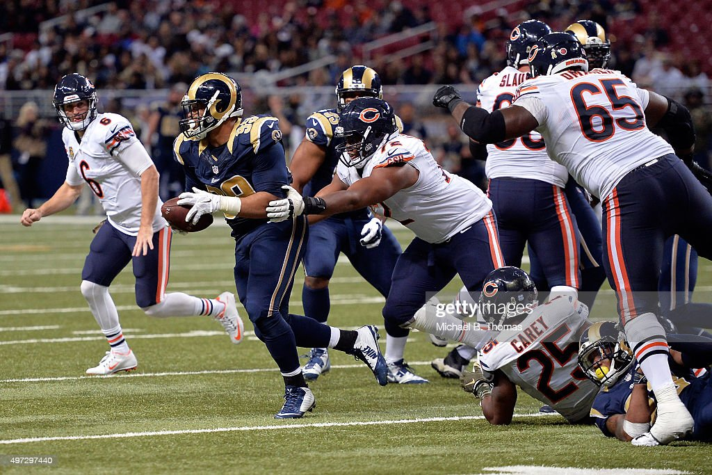 Aaron Donald #99 of the St. Louis Rams recovers a fumble in the fourth quarter against the Chicago Bears at the Edward Jones Dome on November 15, 2015 in St. Louis, Missouri.