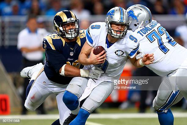 Aaron Donald of the St Louis Rams sacks Matthew Stafford of the Detroit Lions in the fourth quarter at the Edward Jones Dome on December 13 2015 in...