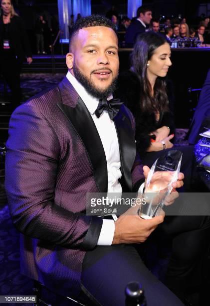 """Aaron Donald winner of """"Performer of the Year"""" award poses during Sports Illustrated 2018 Sportsperson of the Year Awards Show on Tuesday, December..."""
