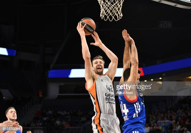 Aaron Doornekamp #42 of Valencia Basket in action during the 2017/2018 Turkish Airlines EuroLeague Regular Season Round 21 game between Anadolu Efes...
