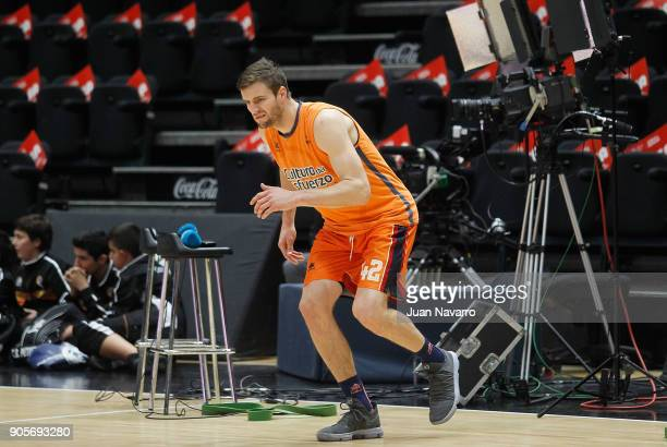 Aaron Doornekamp #42 of Valencia Basket warms up before the 2017/2018 Turkish Airlines EuroLeague Regular Season Round 18 game between Valencia...