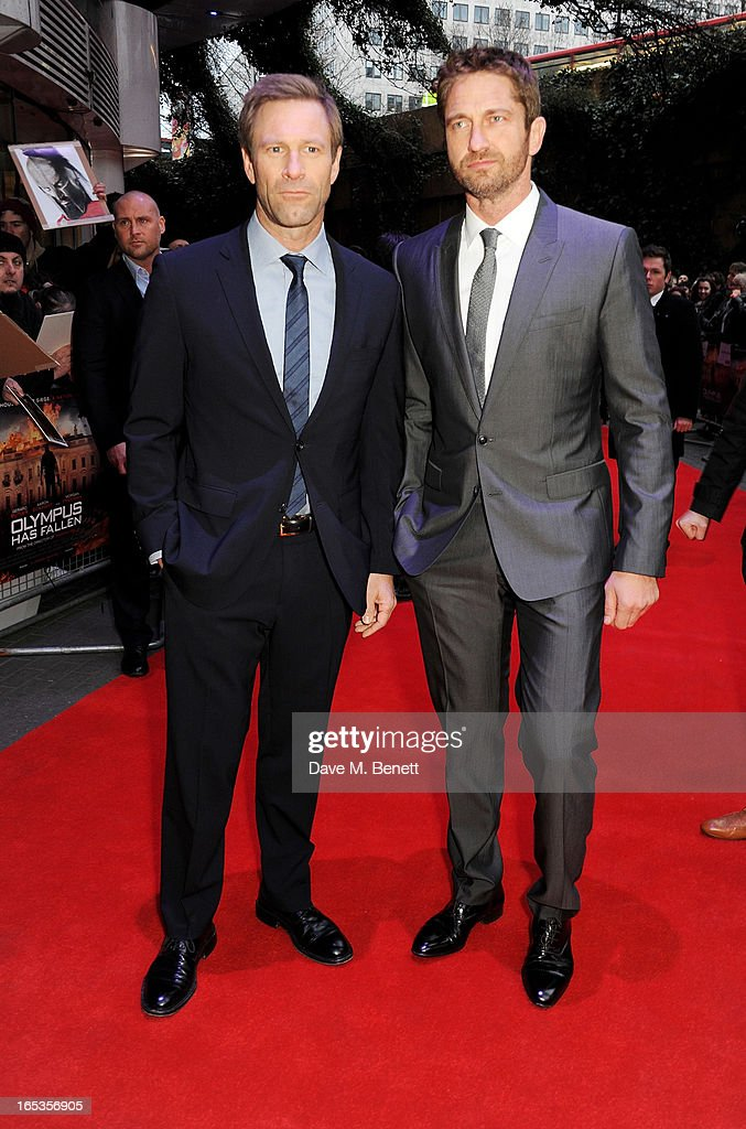 Aaron Eckhart (L) and Gerard Butler attend the UK Premiere of 'Olympus Has Fallen' at BFI IMAX on April 3, 2013 in London, England.
