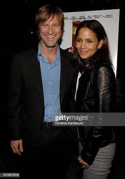 Aaron Eckhart and Halle Berry during 'Thank You For Smoking' New York City Premiere After Party at MoMa in New York City New York United States