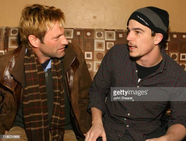 Aaron Eckhart and Josh Hartnett during 2007 Sundance Film Festival Ray Ban Visionary Awards at Tao Park City in Park City Utah United States
