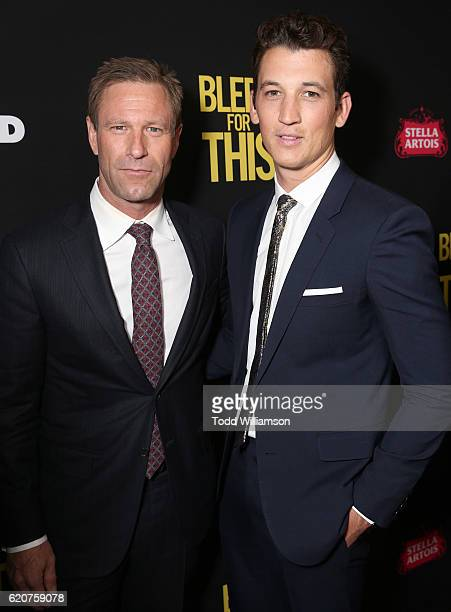 Aaron Eckhart and Miles Teller attend the Premiere Of Open Road Films' Bleed For This at the Samuel Goldwyn Theater on November 2 2016 in Beverly...