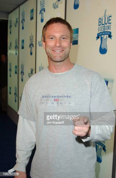 Aaron Eckhart arrives at House of Blues for Blue Jam Sessions presented by Blue from American Express to help generate money and awareness for music...