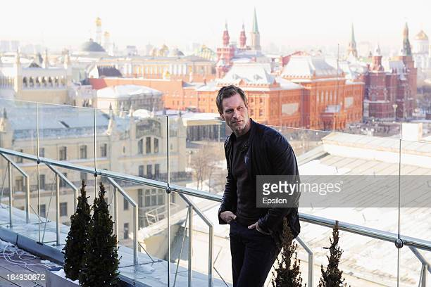 Aaron Eckhart attends the photo call of FilmDistrict's 'Olympus Has Fallen' at the Ritz Carlton Hotel on March 29 2013 in Moscow Russia