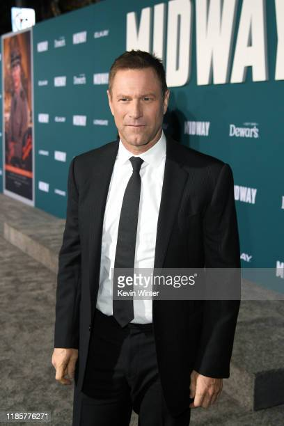 Aaron Eckhart attends the premiere of Lionsgate's Midway at Regency Village Theatre on November 05 2019 in Westwood California