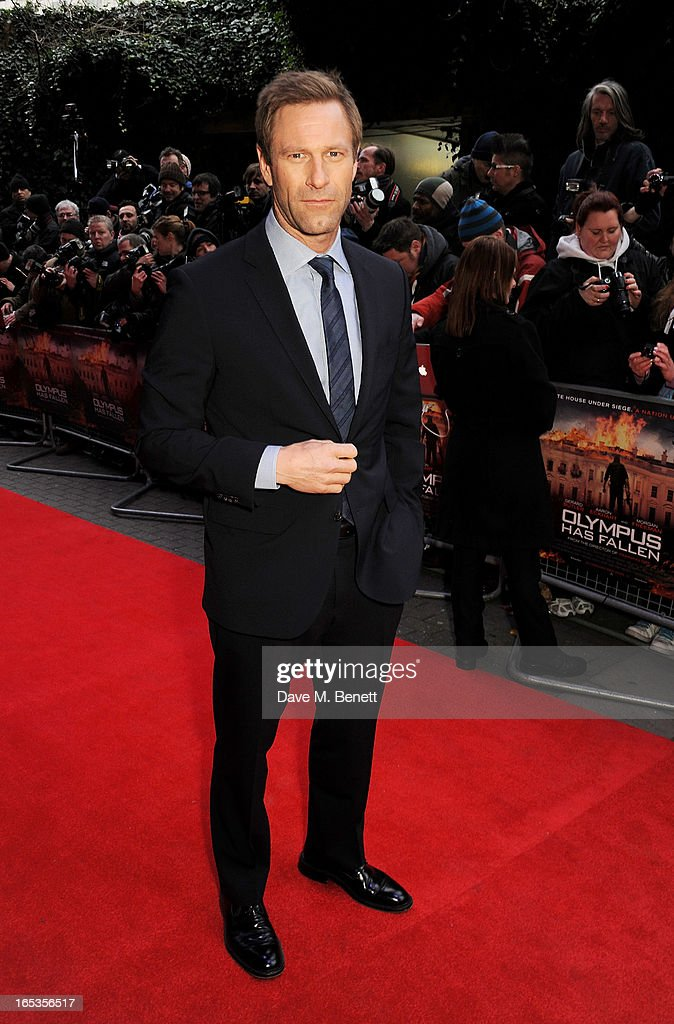 Aaron Eckhart attends the UK Premiere of 'Olympus Has Fallen' at BFI IMAX on April 3, 2013 in London, England.