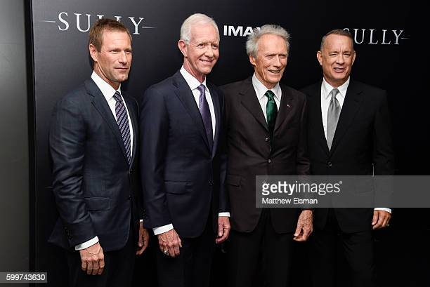 Aaron Eckhart Chesley 'Sully' Sullenberger Clint Eastwood and Tom Hanks attend the 'Sully' New York Premiere at Alice Tully Hall on September 6 2016...