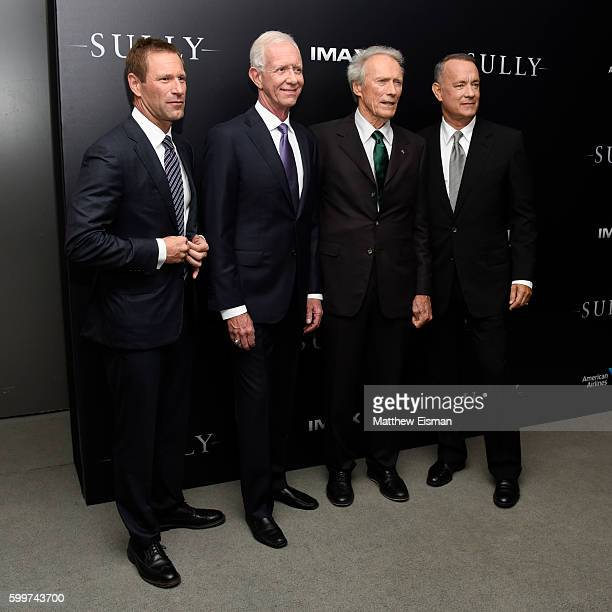 """Aaron Eckhart, Chesley """"Sully"""" Sullenberger, Clint Eastwood and Tom Hanks attend the """"Sully"""" New York Premiere at Alice Tully Hall on September 6,..."""