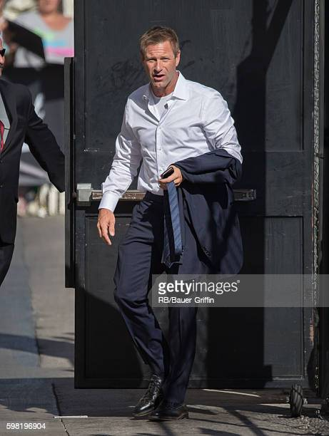Aaron Eckhart is seen at 'Jimmy Kimmel Live' on August 31 2016 in Los Angeles California