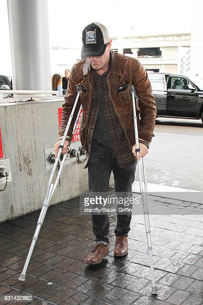 Aaron Eckhart is seen at LAX on January 10 2017 in Los Angeles California