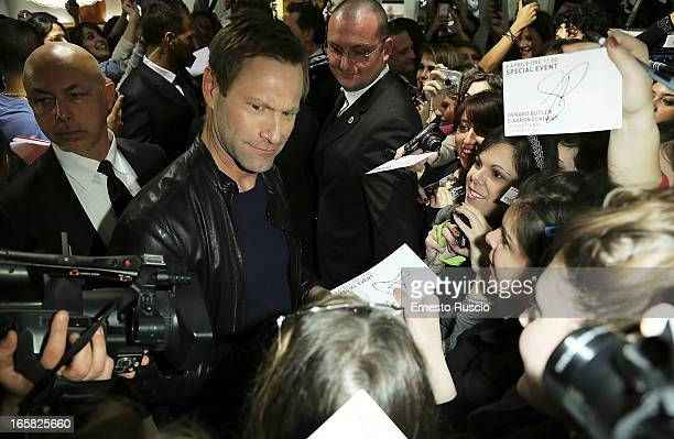 Aaron Eckhart Meets fans at Coin on April 6 2013 in Rome Italy