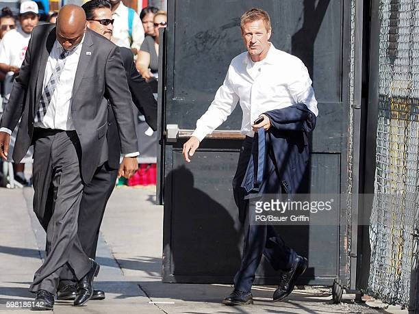 Aaron Eckhart seen arriving at Jimmy Kimmel Live on August 31 2016 in Los Angeles California
