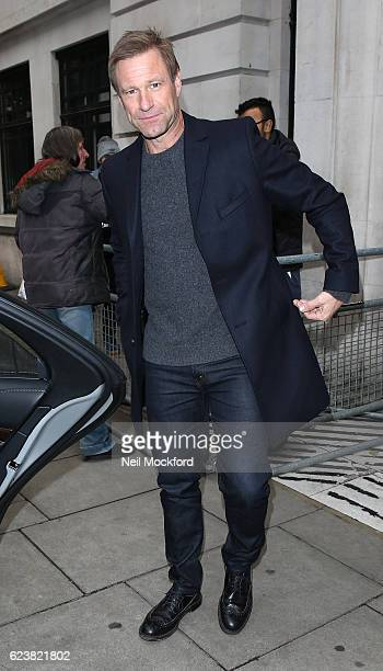 Aaron Eckhart seen at BBC Radio 2 on November 17 2016 in London England