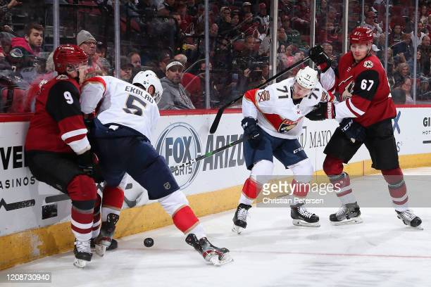 Aaron Ekblad and Lucas Wallmark of the Florida Panthers attempt to control the puck against Clayton Keller and Lawson Crouse of the Arizona Coyotes...