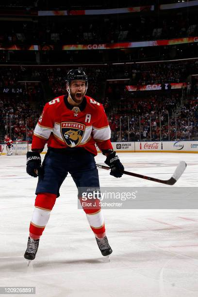 Aaron Ekblad of the Florida Panthers celebrates a goal by teammate Mark Pysyk in the first period against the Toronto Maple Leafs at the BB&T Center...