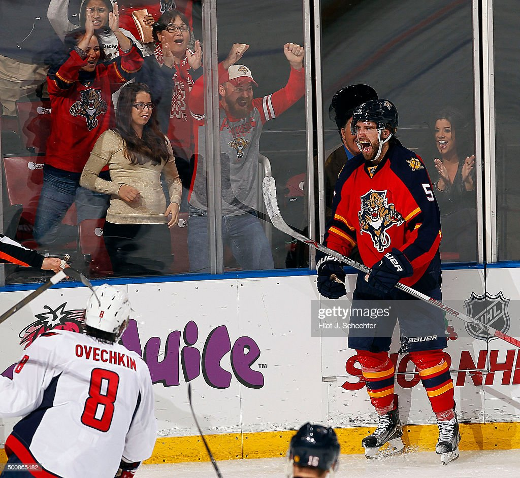 Aaron Ekblad #5 of the Florida Panthers celebrates his goal against the Washington Capitals at the BB&T Center on December 10, 2015 in Sunrise, Florida.