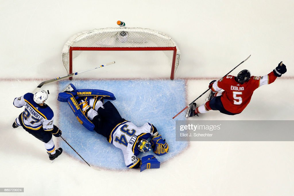 Aaron Ekblad #5 of the Florida Panthers celebrates his goal scored against Goaltender Jake Allen #34 of the St. Louis Blues at the BB&T Center on October 12, 2017 in Sunrise, Florida.