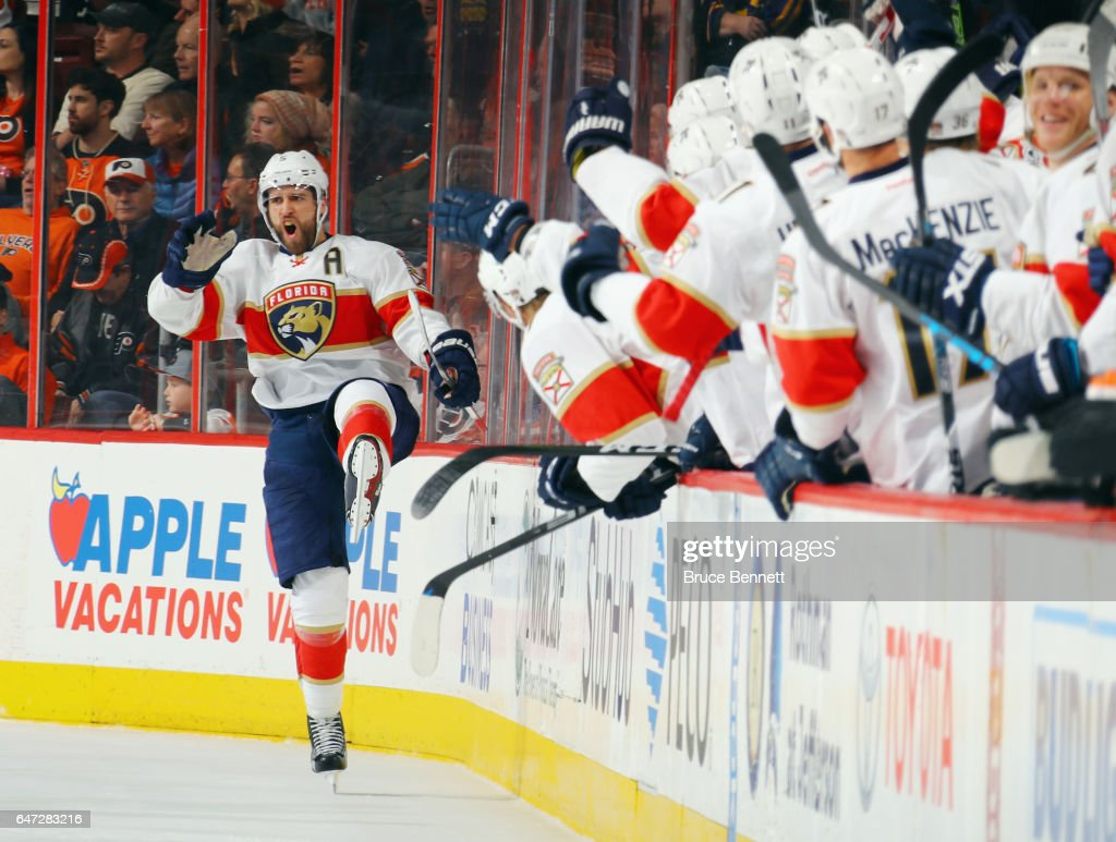 Aaron Ekblad #5 of the Florida Panthers celebrates his shorthanded goal at 11:34 of the second period against the Philadelphia Flyers at the Wells Fargo Center on March 2, 2017 in Philadelphia, Pennsylvania.