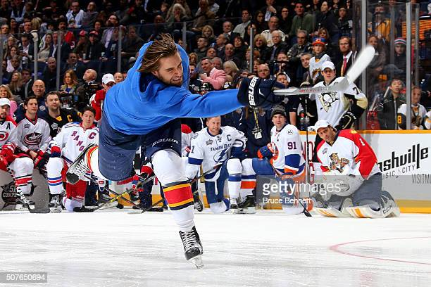 Aaron Ekblad of the Florida Panthers competes in the AMP Energy NHL Hardest Shot during the 2016 Honda NHL AllStar Skill Competition at Bridgestone...