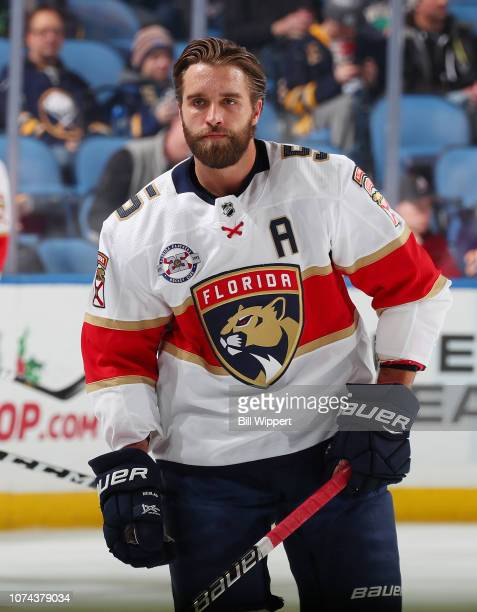 Aaron Ekblad of the Florida Panthers skates during warmups before an NHL game against the Buffalo Sabres on December 18 2018 at KeyBank Center in...