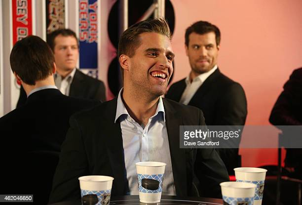 Aaron Ekblad of the Florida Panthers waits backstage prior to the 2015 NHL AllStar Fantasy Draft as part of the 2015 NHL AllStar Weekend at the...