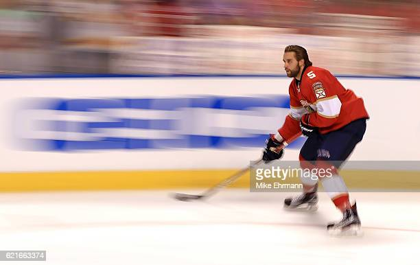 Aaron Ekblad of the Florida Panthers warms up during a game against the Tampa Bay Lightning at BBT Center on November 7 2016 in Sunrise Florida