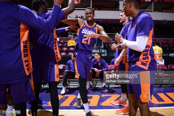 Aaron Epps of the Northern Arizona Suns is introduced before the game against the Texas Legends during the NBA G League on March 10 2019 at the...
