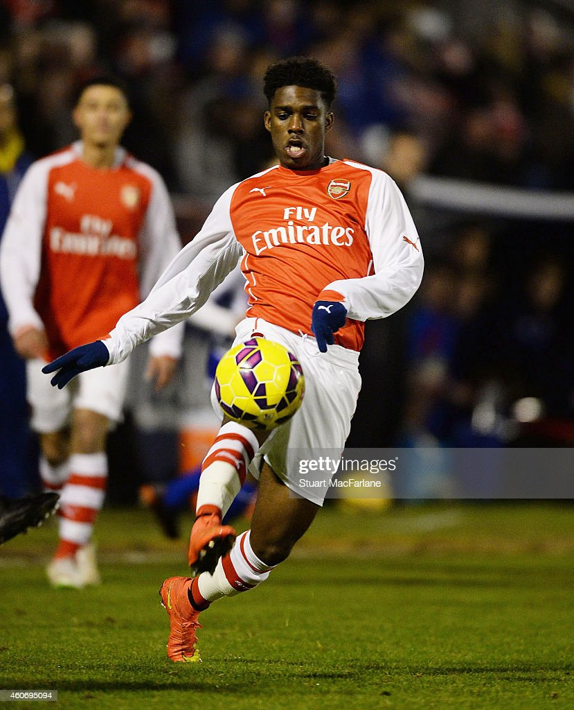 Aaron Eyoma of Arsenal during the FA Youth Cup 3rd Round match between Arsenal and Reading at Meadow Park on December 19, 2014 in Borehamwood, England.