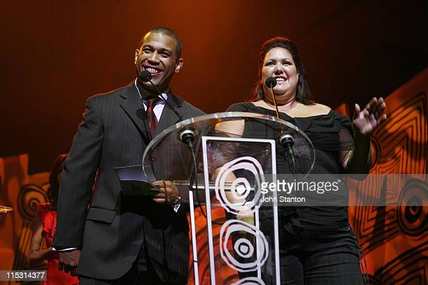 Aaron Fa'aso and Casey Donovan during 2006 Deadly Awards at Sydney Opera House in Sydney NSW Australia