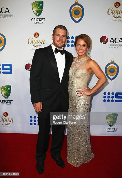 Aaron Finch and Amy Griffiths arrive ahead of the 2015 Allan Border Medal at Carriageworks on January 27 2015 in Sydney Australia