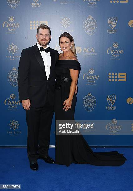Aaron Finch and Amy Griffiths arrive ahead of the 2017 Allan Border Medal at The Star on January 23 2017 in Sydney Australia