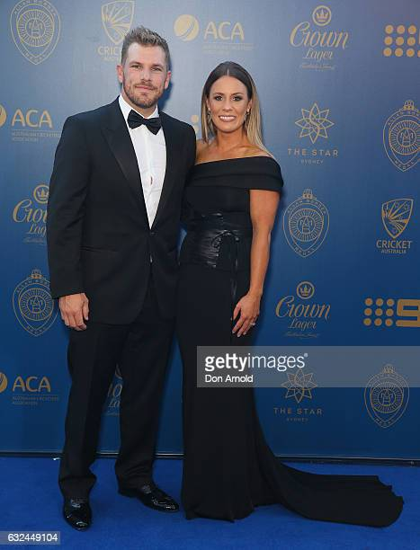 Aaron Finch and Amy Griffiths arrive ahead of the Allan Border Medal at on January 23 2017 in Sydney Australia