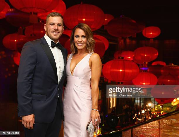 Aaron Finch and Amy Griffiths arrive at the 2016 Allan Border Medal ceremony at Crown Palladium on January 27 2016 in Melbourne Australia