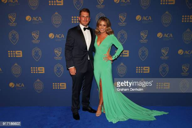 Aaron Finch and Amy Griffiths arrive at the 2018 Allan Border Medal at Crown Palladium on February 12 2018 in Melbourne Australia