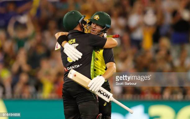 Aaron Finch and D'Arcy Short of Australia celebrate after hitting the winning runs during game two of the International Twenty20 series between...